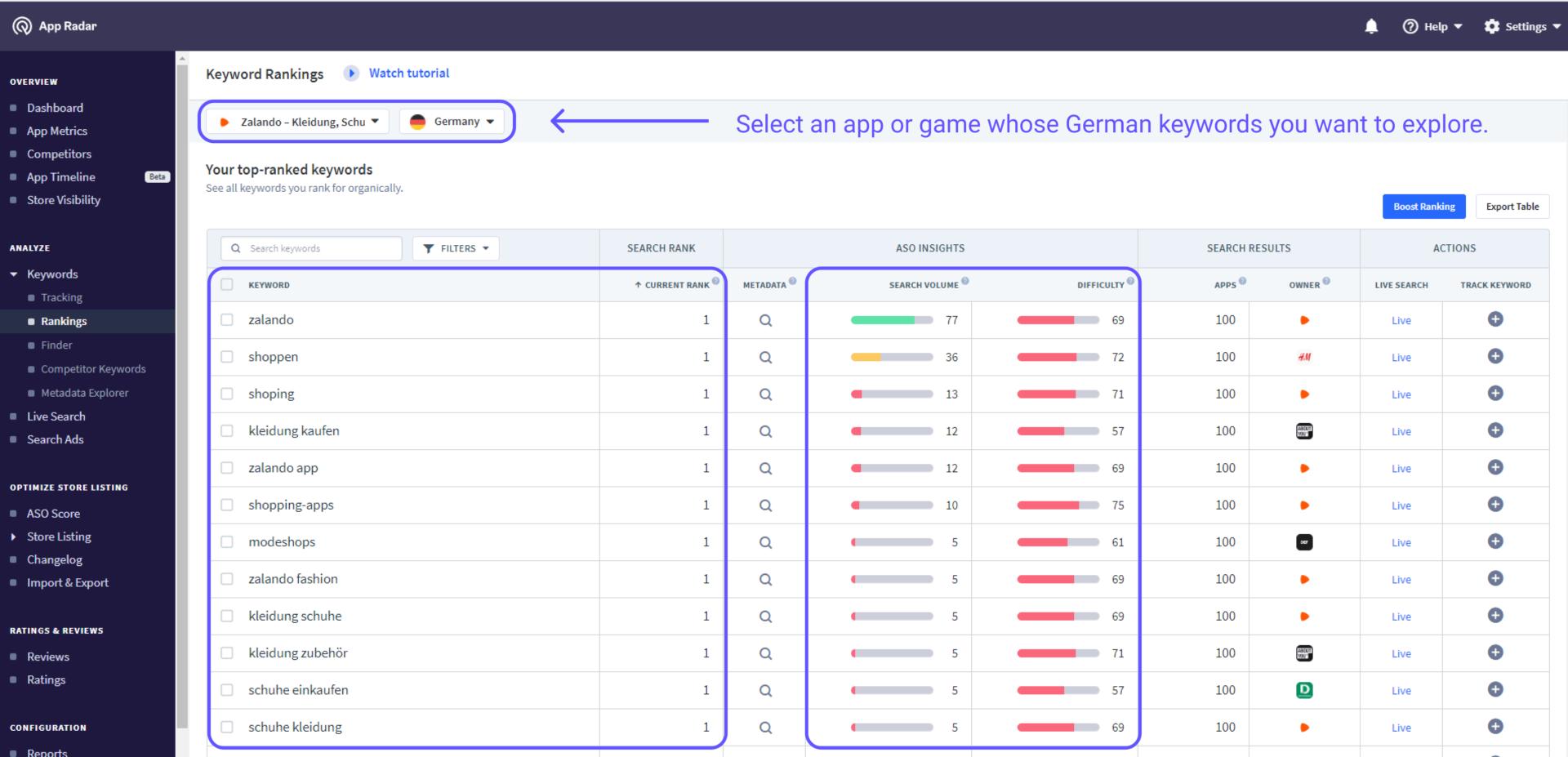 Rankings for German locale in App Radar tool