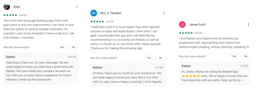 Example of Babbel being human when they respond to app reviews on Google Play