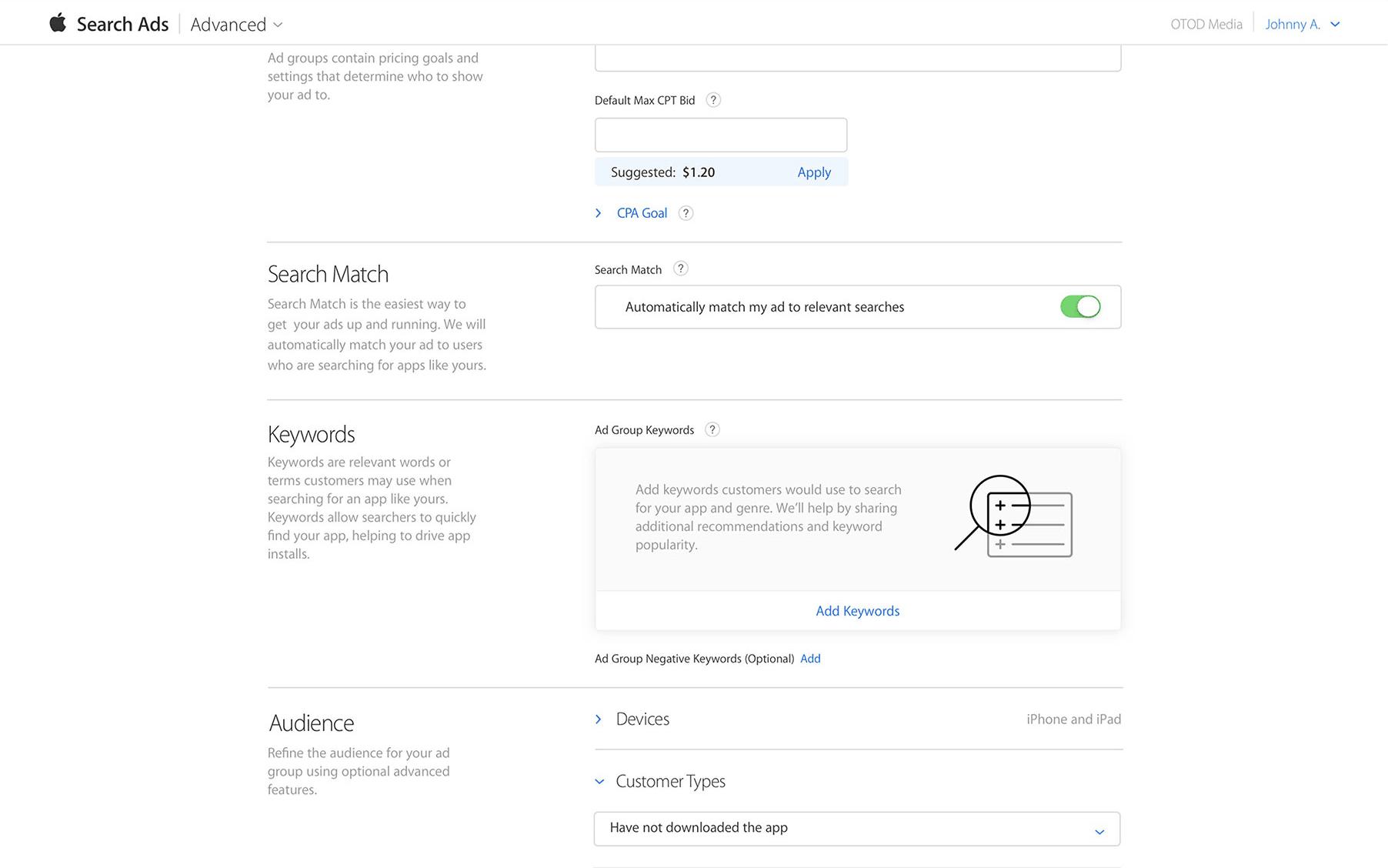 Apple Search Ads Advanced Dashboard