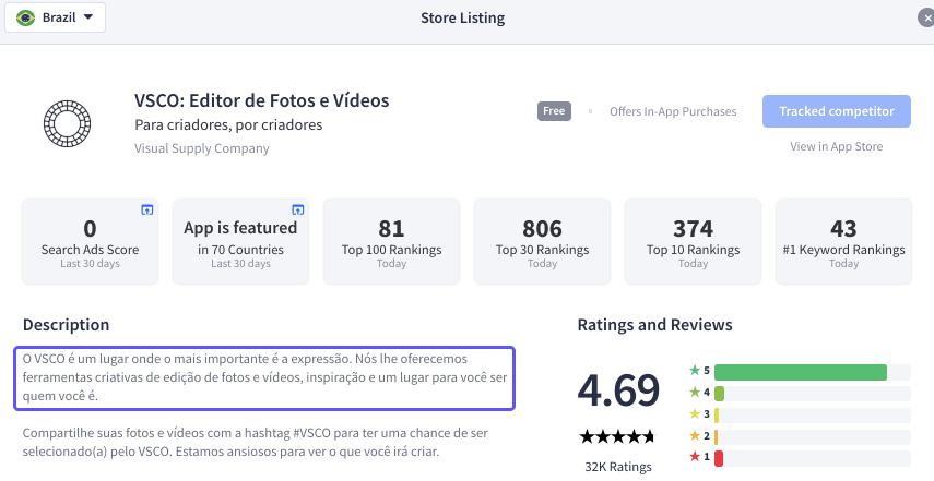 Brazilian VSCO Store Listing - Source: App Radar
