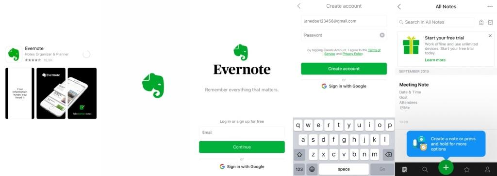 Evernote Create Account Beispiel