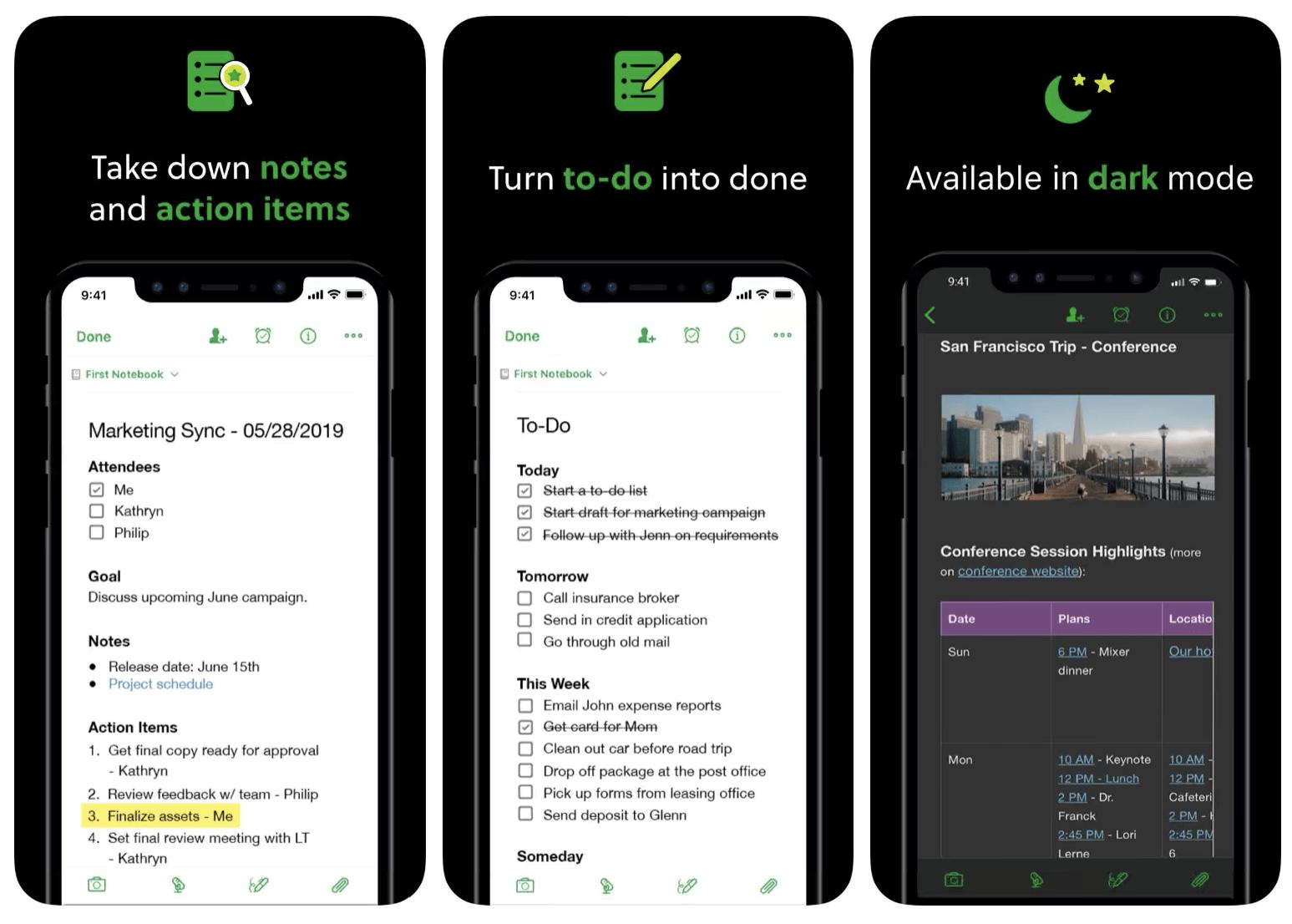 Evernote Dark Mode App Screenshots De