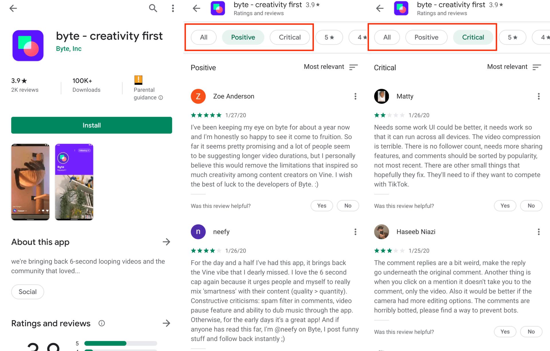 Filtere App Bewertungen Positic Kritisch Google Play