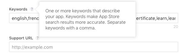 Ios Keyword Feld App Store Connect