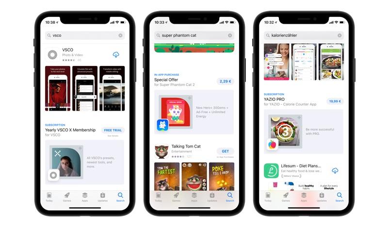 In App Kaufe Suchergebnisse