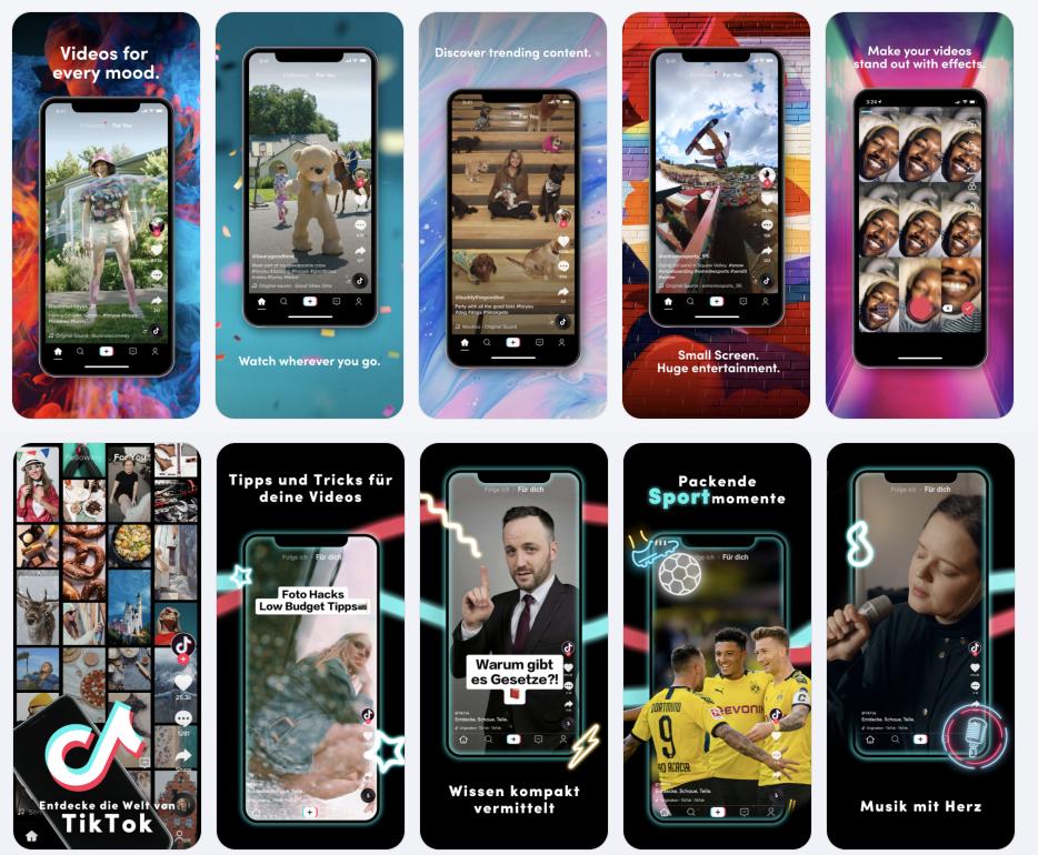Tik Tok App Lokalisierung Screenshots