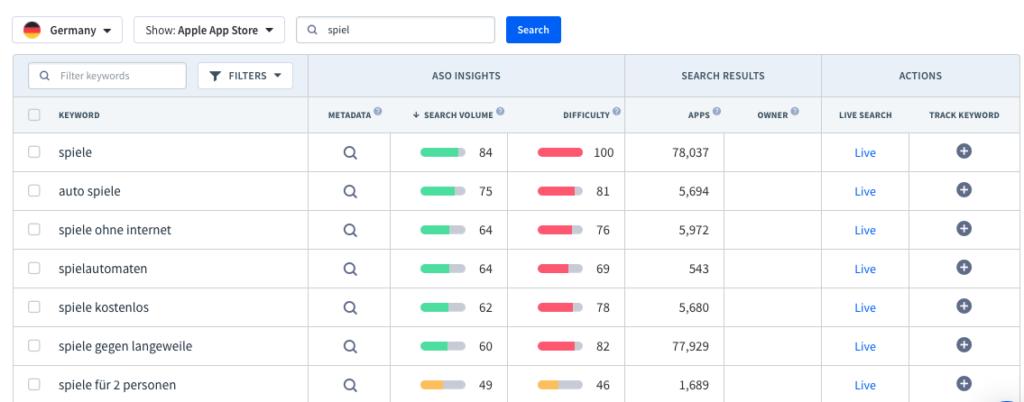 Use the App Radar Keyword Finder to find localized keywords