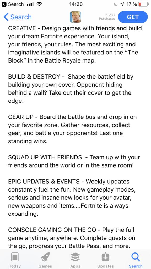 Fornite App Store Description