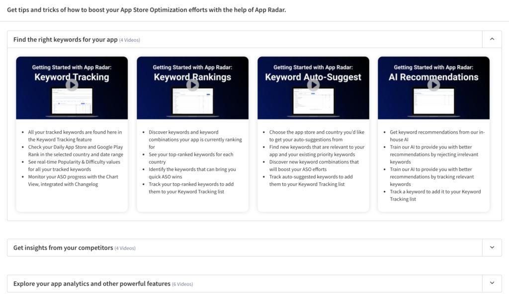 How to use App Radar videos