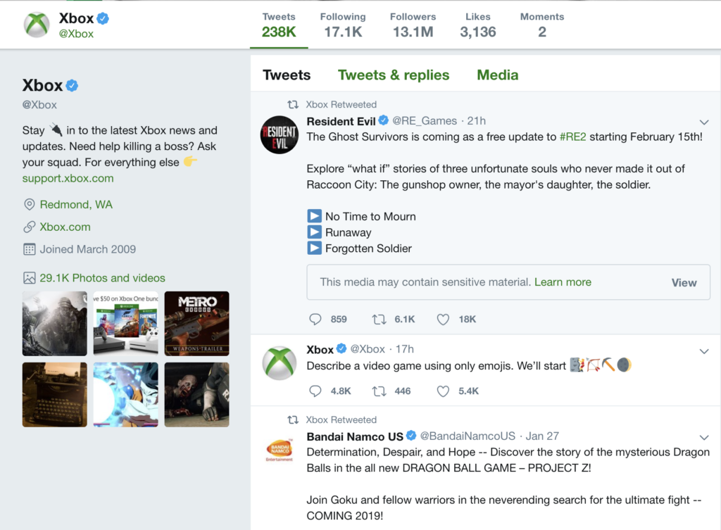xbox keeping their brand present to gain organic traffic and keep app retention rates high with a main brand twitter account
