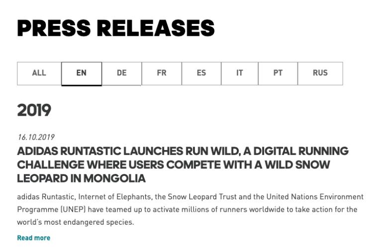 Runtastic press release