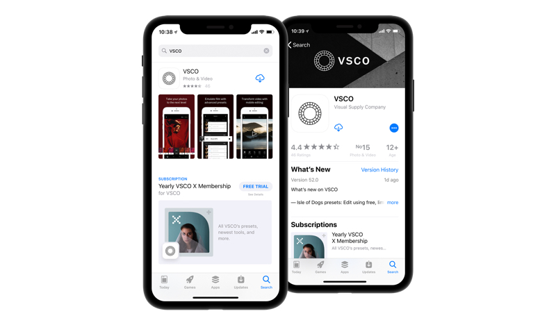 VSCO has in-app purchases that show in the search results and on their app store listing