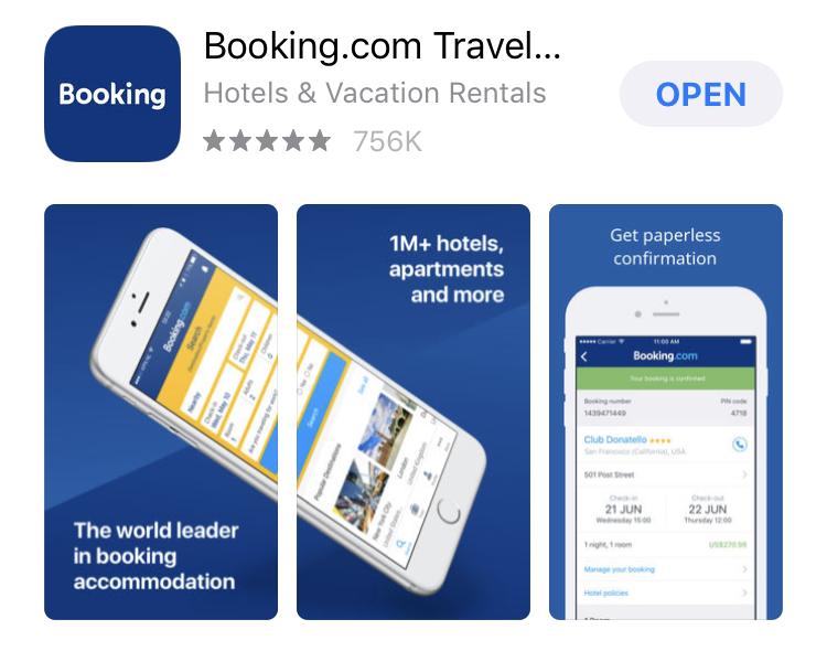 Booking.com App Connected Portrait App Screenshots Layout