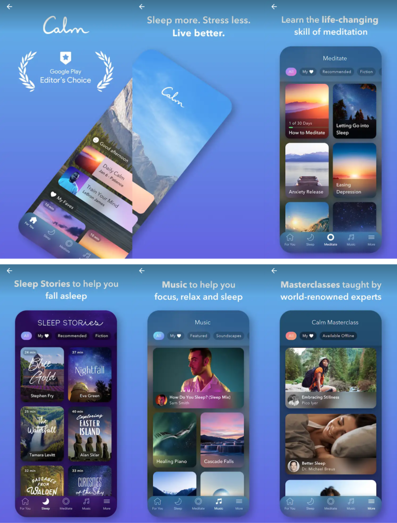Calm created attractive app screenshots for their Google Play Android app