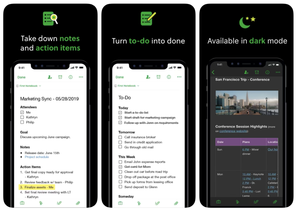 Evernote's iOS app screenshots are easy-to-read and show off unique features including Dark Mode