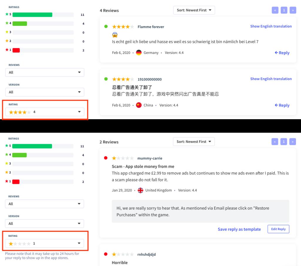 Filter through app user reviews with App Radar.