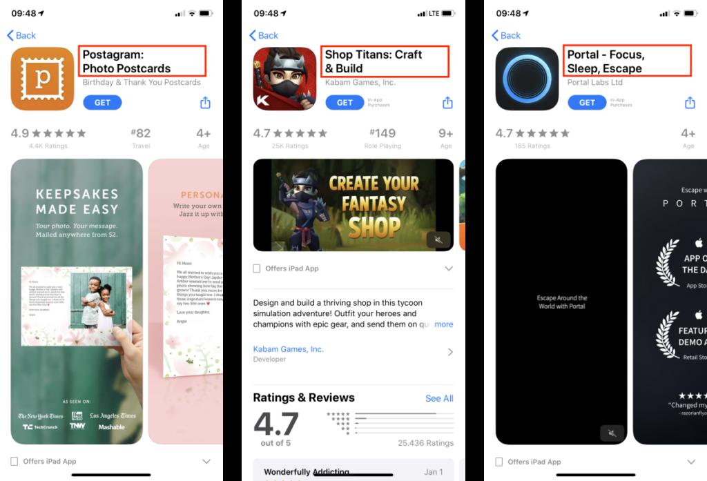 iOS App Name examples