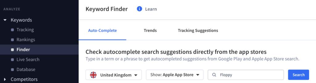 The new Keyword Finder tab in App Radar's App Store Optimization Tool