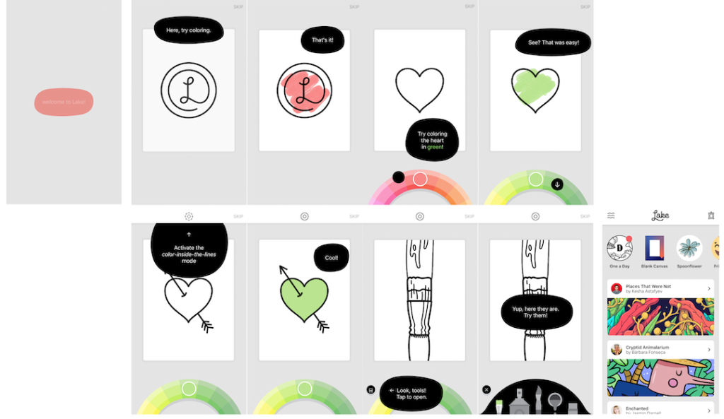 Lake, a coloring app, improves their app retention rate by implementing an engaging and instructive onboarding flow.