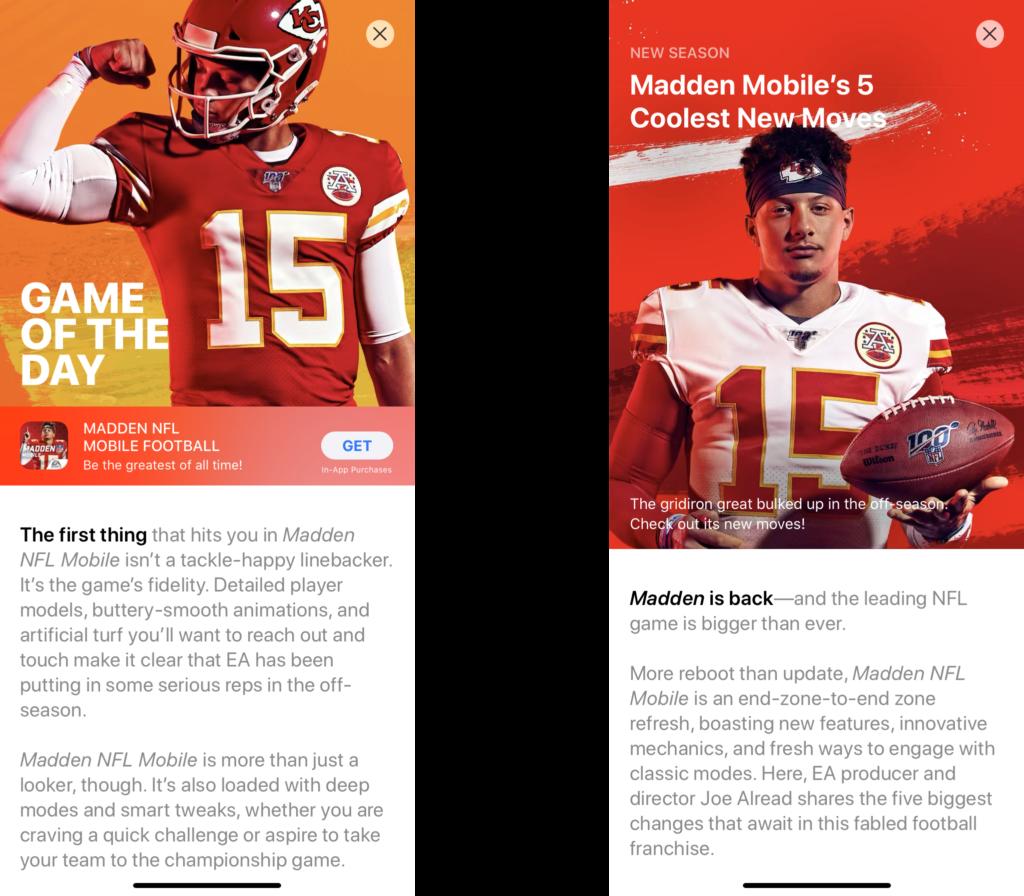Apple's Stories on Madden NFL Mobile Football