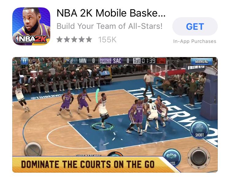 NBA 2K App Game Single Landscape App Screenshots Layout