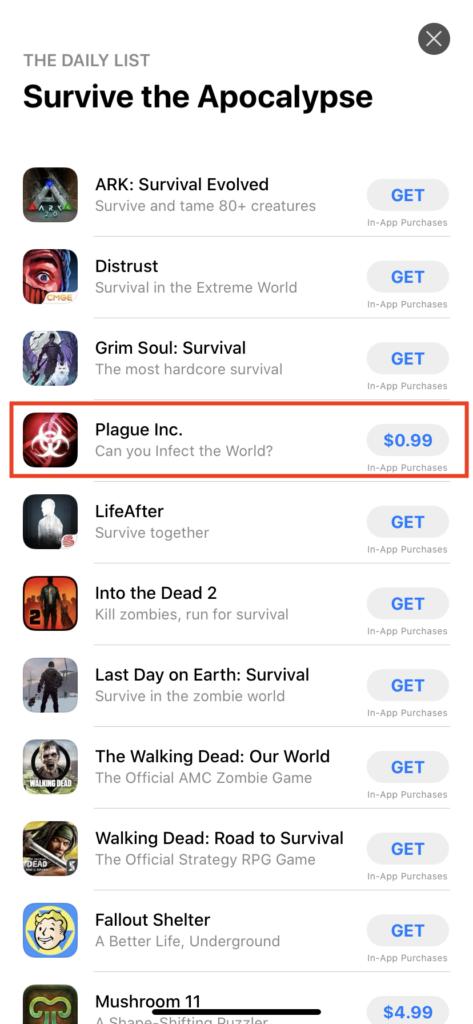 Apple App Store features Plague Inc. under Survive the Apocalypse