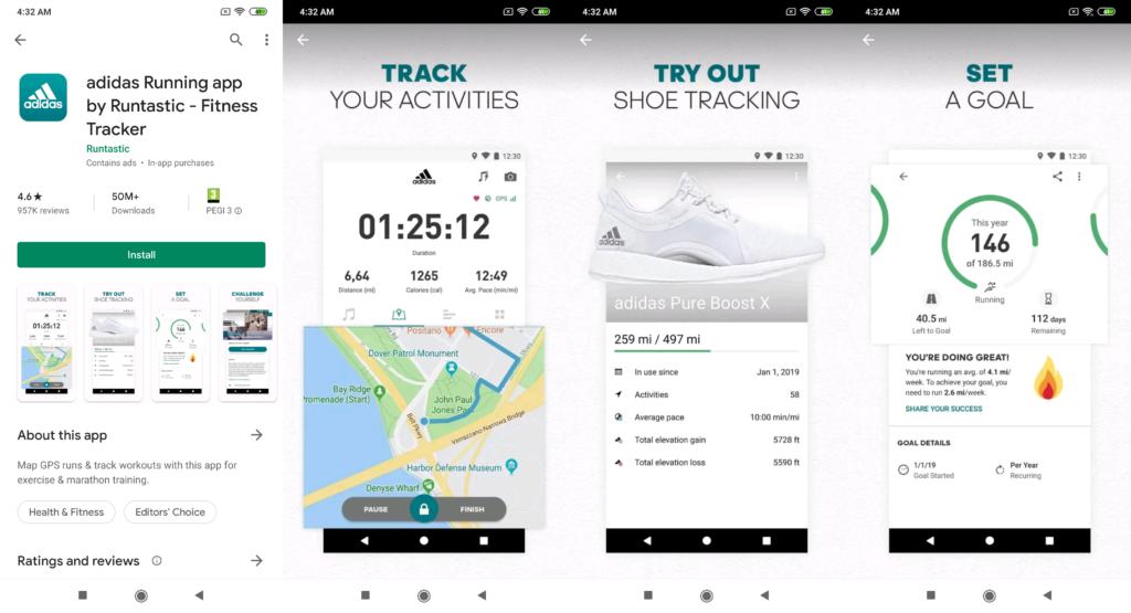 adidas Running app uses app screenshots to highlight their best features