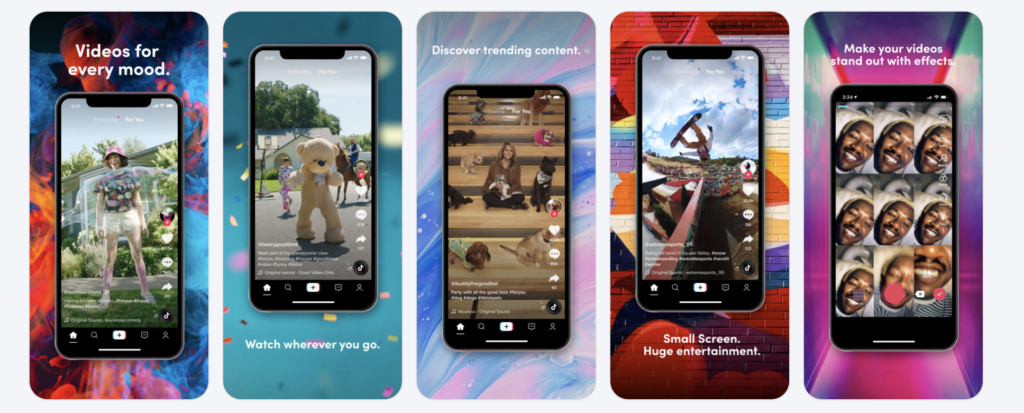 TikTok app screenshots appeal to their younger and creative audience. When you submit apps to Google Play remember to include screenshots that will engage your target audience.