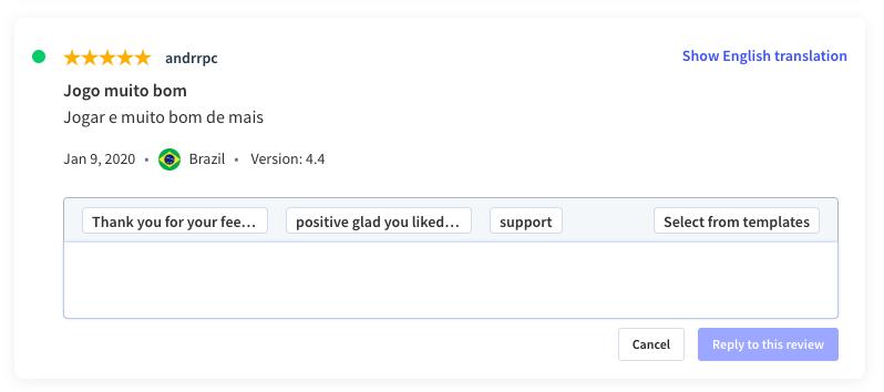 Translate app user reviews as you're answering them in App Radar